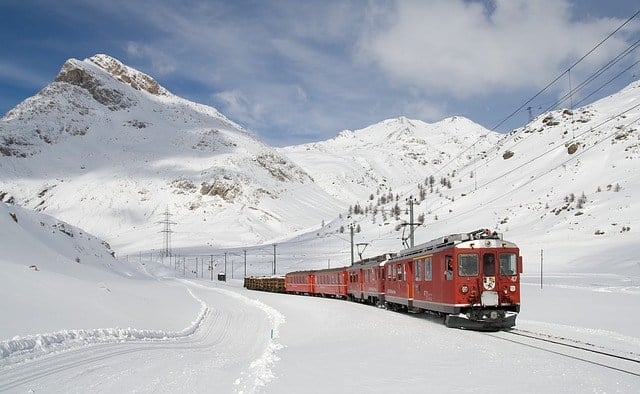 Swiss Trains In the Alps