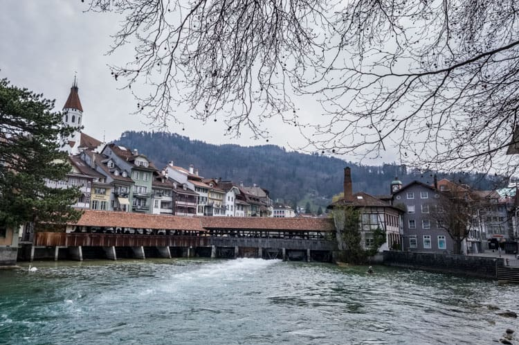 Covered bridge in the center of the old town of Thun