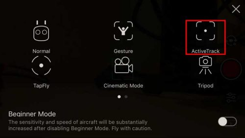 DJI Active Track - Select Menu