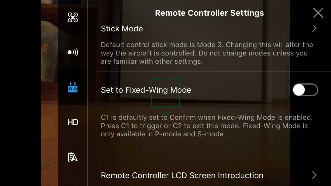 DJI Mavic Pro - Fixed Wing Enable On Controller