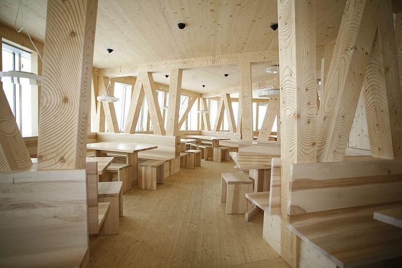 Monte Rosa Hut - Modern Eating Area