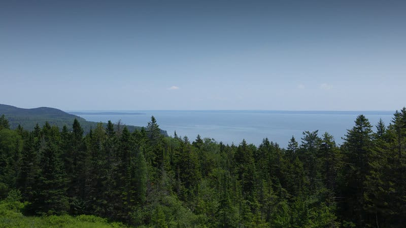 Bay of Fundy: A lookout point over the Bay of Fundy on the drive to the Third Vault Falls trailhead.