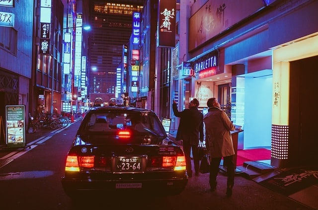 taxi in Japan at night