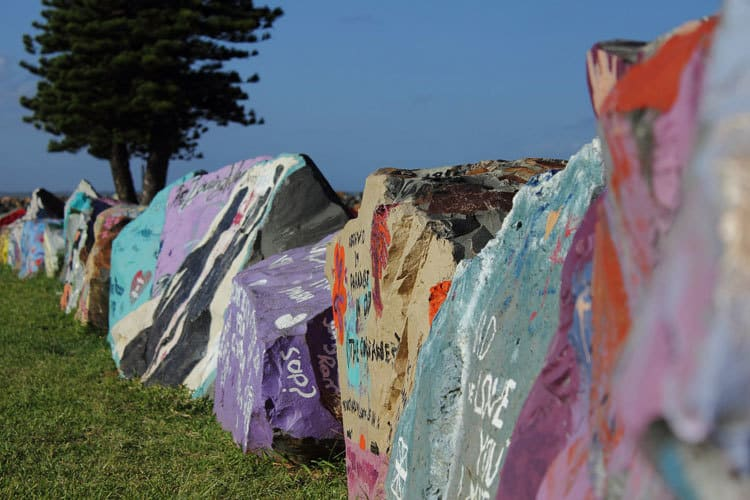 break wall painted rocks port macquarie
