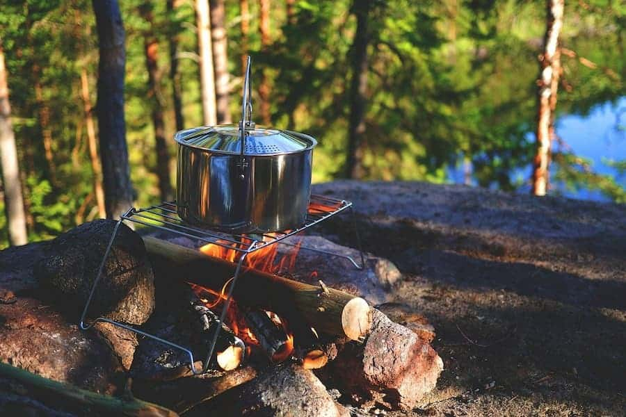 camping cooking food